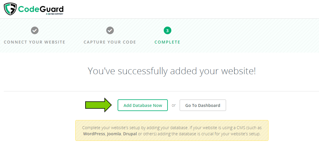 CodeGuard Website Added Successfully